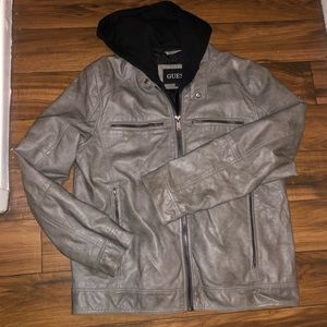 Guess Faux Leather Mens L hooded zip off jacket